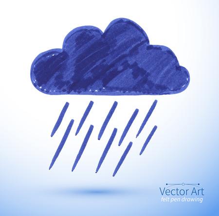 Dibujo rotulador de la nube de lluvia. Vectores