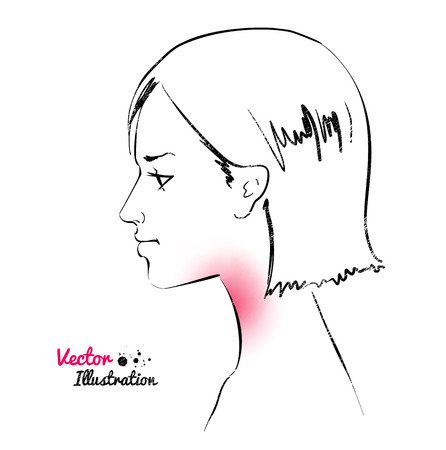 choking: Vector illustration of sore throat concept. Illustration
