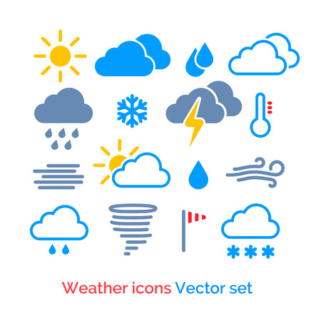downpour: Colorful weather icons vector set. Illustration