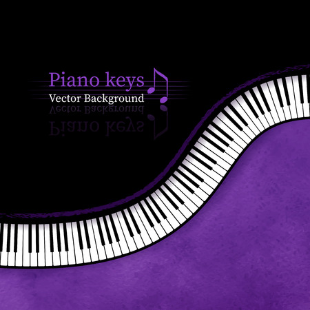 black piano: Piano keys grunge vector background.