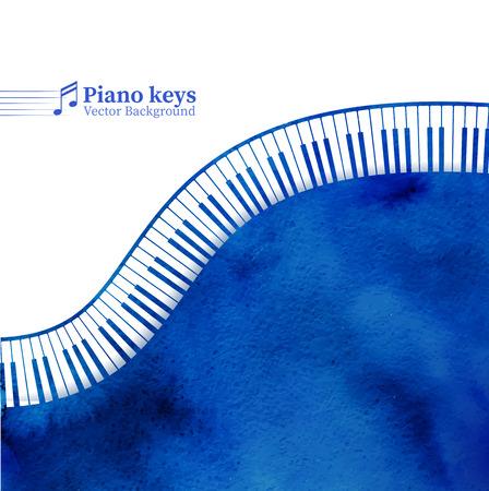 ピアノのキー水彩グランジ背景。  イラスト・ベクター素材