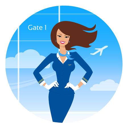 hostess: Vector illustration of smiling stewardess.
