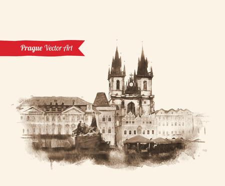 プラハの旧市街ビューとヴィンテージはがき。チェコ共和国。水彩テクスチャ アート。  イラスト・ベクター素材