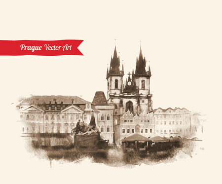 Vintage postcard with Old Prague view. Czech Republic. Watercolor textured art.