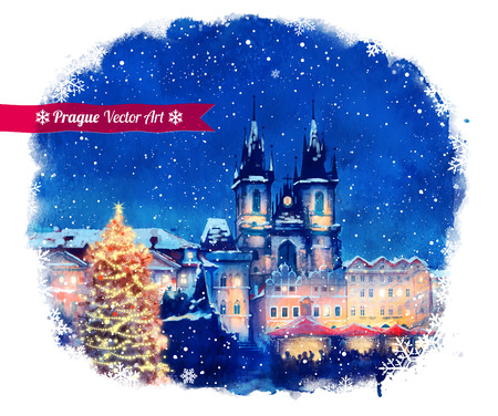 night before christmas: Vector watercolor illustration of Christmas Prague. Illustration
