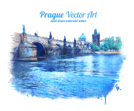 Watercolor illustration of Charles bridge in Prague.