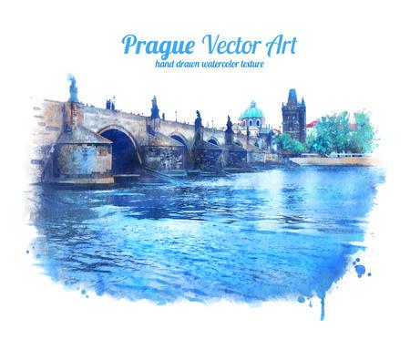 Watercolor illustration of Charles bridge in Prague. Vector