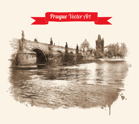 praha: Vintage postcard with Old Prague Charles bridge view. Czech Republic. Watercolor textured art. Vector illustration.