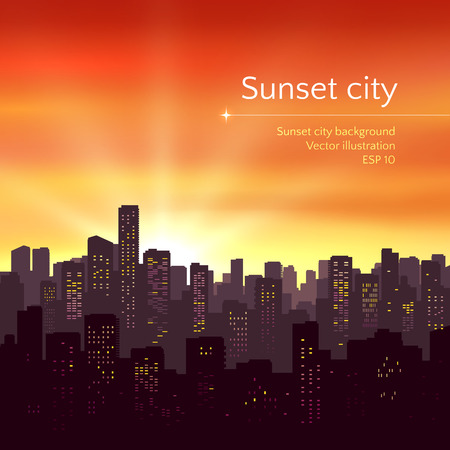 Sunset landscape vector: Vector illustration of sunset city landscape.