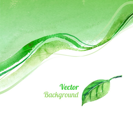 lime green background: Hand drawn watercolor background with leaf. Illustration