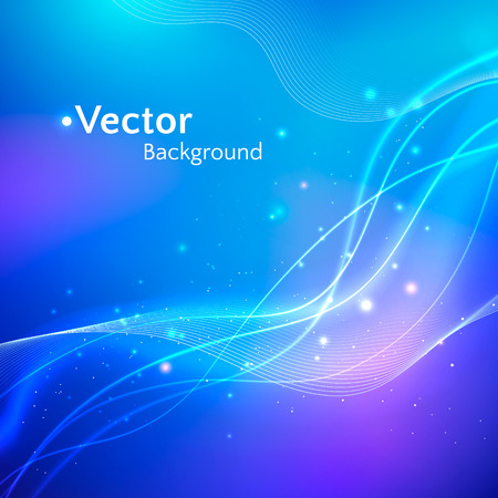 neon lights: Glowing blue vector background with waves.