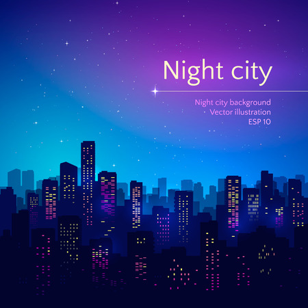Vector illustration of night city. 向量圖像