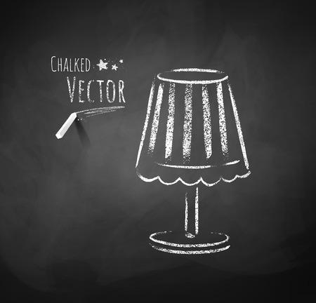 Chalkboard drawing of night lamp.