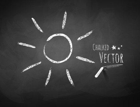 Vector chalkboard drawing of sun. Vector