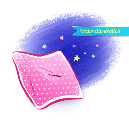Vector hand drawn illustration of pillow. Illustration