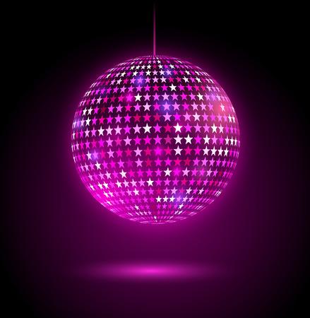 estrellas moradas: Ilustración vectorial de brillante bola de discoteca con las estrellas. Vectores
