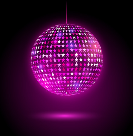 Vector illustration of glowing disco ball with stars. Stock Illustratie