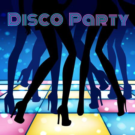 piernas sexys: Ilustración del vector de la fiesta de discoteca.