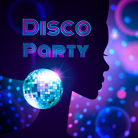 glitter ball: Vector illustration of disco party.