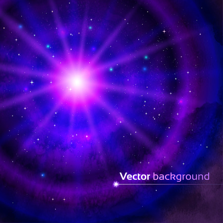 asterism: Vector background with concentric circles and outer space.