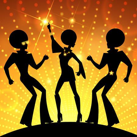 Ilustracja z tańca ludzi na złotym światła disco tle.
