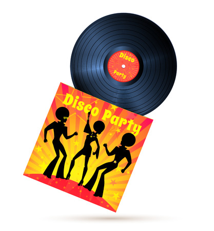 record cover: Vinyl record and cover with disco party illustration. Illustration