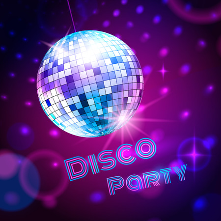 Vector background with disco ball.