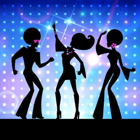 disco girls: Vector background with dancing people, disco party.