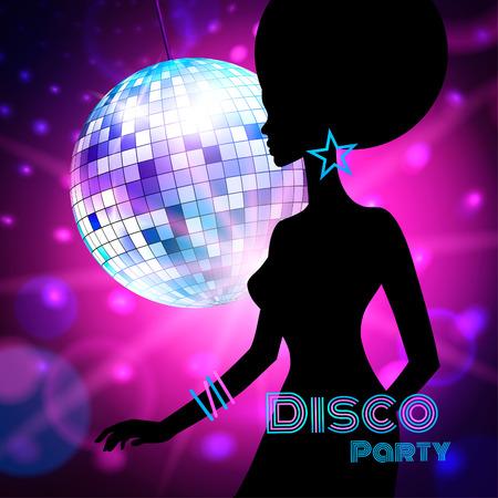 Vector achtergrond met vrouwelijke silhouet, Disco Party. Stock Illustratie