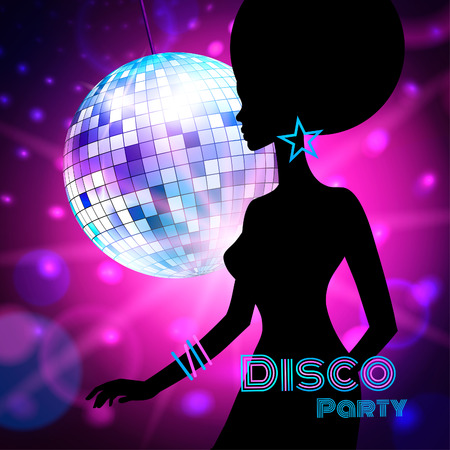 disco backdrop: Vector background with female silhouette, Disco Party. Illustration