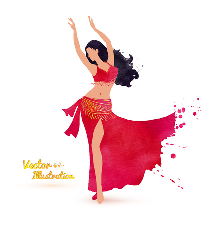 dancing silhouettes: Vector illustration of Belly dancer. Watercolor art.