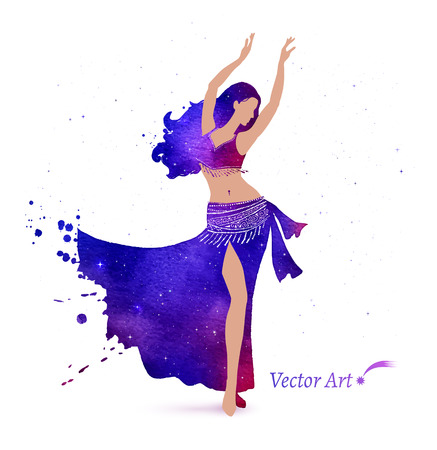 dancing silhouettes: Belly dancer with space pattern on dress. Watercolor art. Illustration
