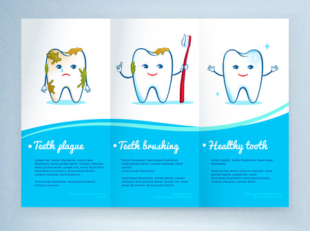 dentist cartoon: Dental care leaflet design with cute tooth characters.