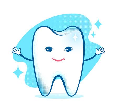 Ilustración vectorial de carácter dental sana y feliz.