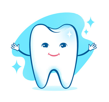 pediatric: Vector illustration of healthy happy tooth character.