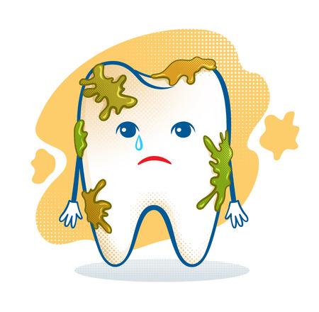 dientes sucios: Ilustración vectorial de carácter dolor de muelas lindo.