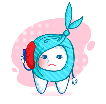 tooth pain: Sorrowful tooth character with ice bag. Toothache. Illustration