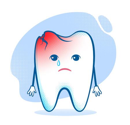 Vektor-Illustration der traurige beschädigten Zahn Charakter.