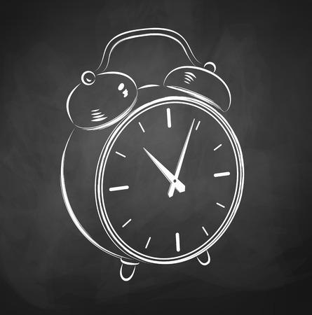 chalk outline: Chalkboard drawing of alarm clock.