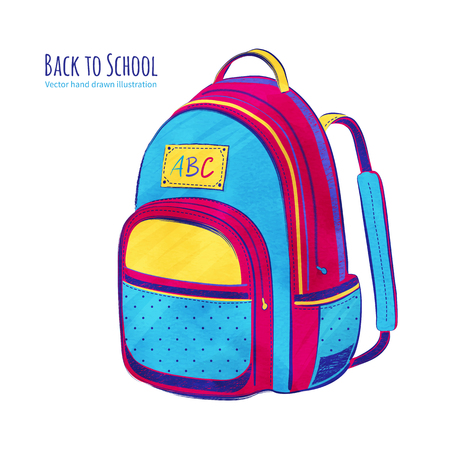 first former: Hand drawn vector illustration of School bag. Illustration