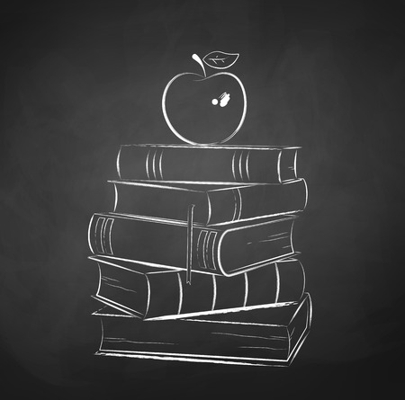 Chalk drawn illustration of apple on a pile of books.