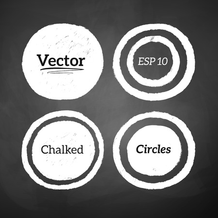 Circle: Hand drawn chalked circles and rings on blackboard background. Vector set Illustration
