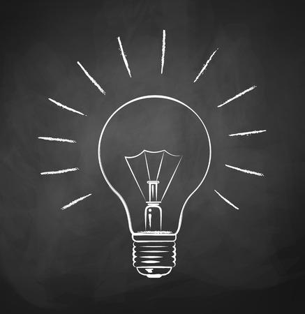 Chalkboard drawing of light bulb. Vettoriali