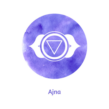 chakra energy: Vector watercolor illustration of Ajna chakra. Illustration