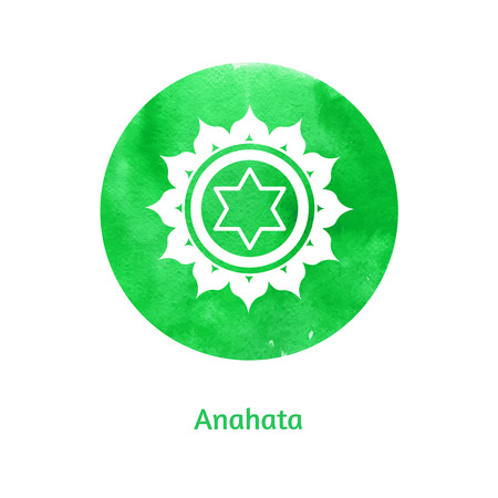anahata: Vector watercolor illustration of Anahata chakra. Illustration