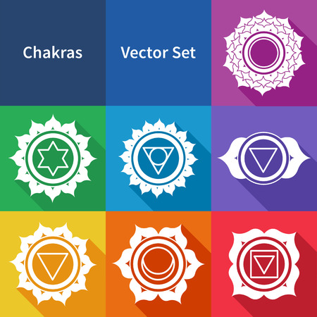 sanskrit: Vector colorful set of Chakras. Illustration