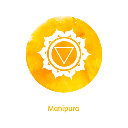 holistic health: Vector watercolor illustration of Manipura chakra. Illustration