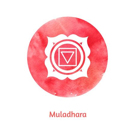 Vector watercolor illustration of Muladhara chakra. Vector