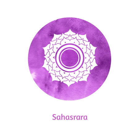 sacred lotus: Vector watercolor illustration of Sahasrara chakra. Illustration