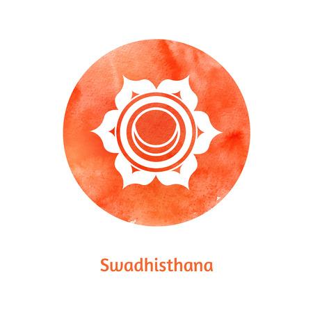 reiki: Vector acquerello illustrazione di Swadhisthana chakra.